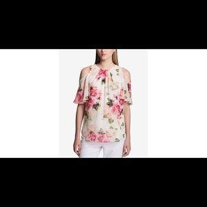 Calvin Klein Floral Cold Shoulder Blouse (Size L)